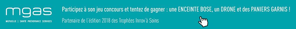 Bandeau du jeu concours de la MGAS, partenaires des Trophées Innov'à soins 2018