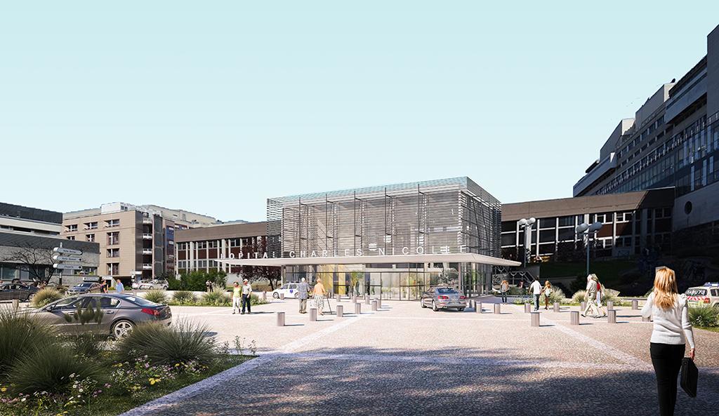 Vue du hall pendant la période de transition du bâtiment central de mai 2019 à l'été 2021, avant la restructuration. Cette phase intermédiaire permet d'assurer un accueil de bien meilleure qualité avant les travaux d'envergure.