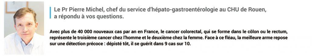 """Bandeau """"le Pr Michel vous a répondu"""" dans le cadre d'Avis d'experts - Thématique cancer colorectal du mois de mars 2019"""