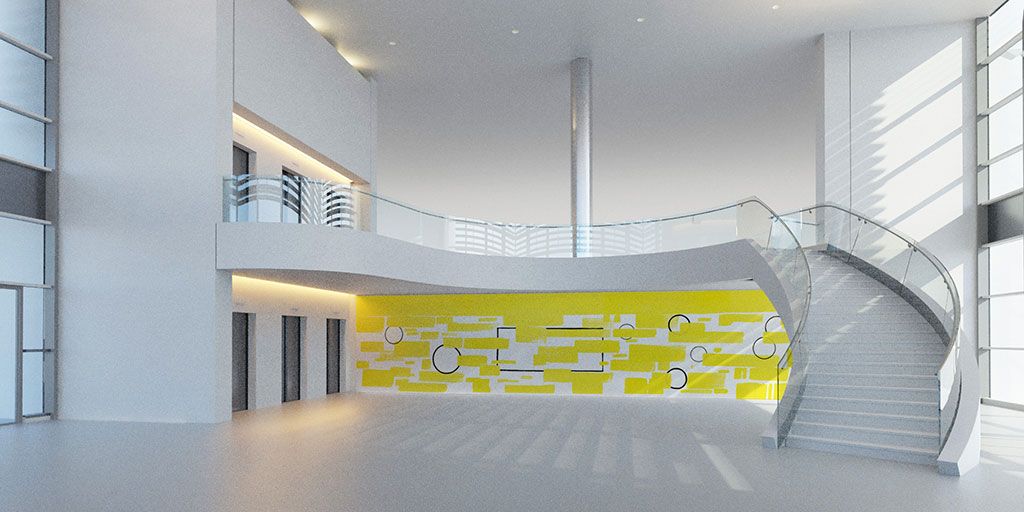 Aménagement artistique du nouveau hall du bâtiment central de l'hôpital Charles-Nicolle. Perspective d'architecte