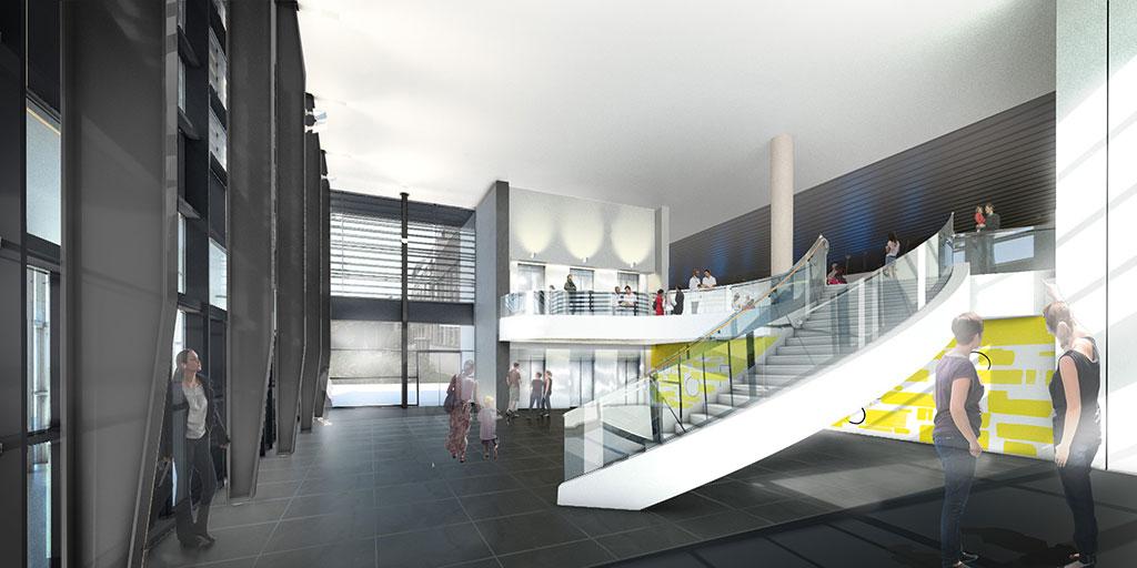 Aménagement du nouveau hall du bâtiment central de l'hôpital Charles-Nicolle. Perspective d'architecte