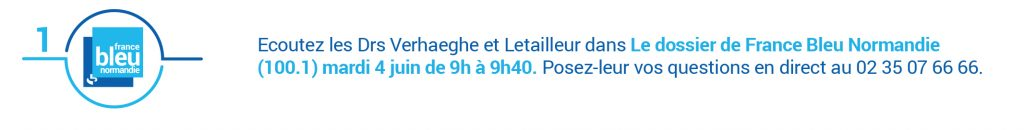 Écoutez les Dr Verhaeghe et Letailleur dans Le Dossier de France Bleu Normandie mardi 4 juin dans le cadre d'Avis d'experts sur la préservation de la fertilité en juin 2019.