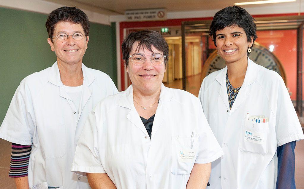 Les Drs Evelyne Guegan-Massardier, Ozlem Ozkul-Wermester et Aude Triquenot-Bagan de l'unité neuro-vasculaire du service de neurologie