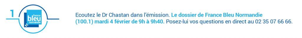 Écoutez le Dr Chastan sur France Bleu Normandie le mardi 5 février 2020 dans le cadre d'Avis d'experts sur l'épilepsie.
