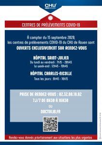 Affiche horaires du centre de prélèvements COVID - 16/09/2020