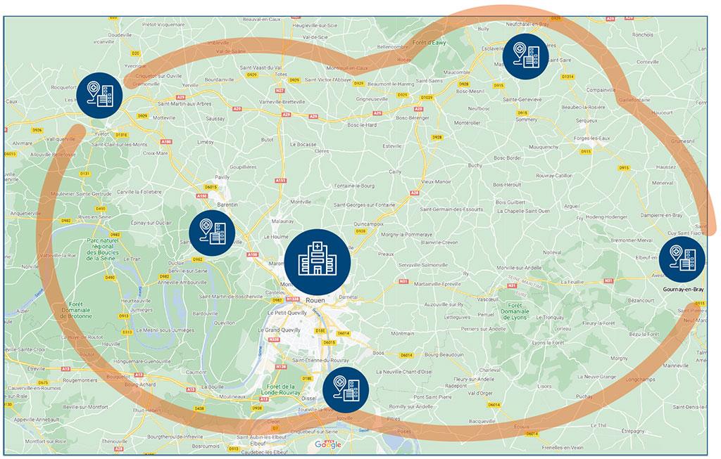 Carte d'intervention de l'équipe territoriale de soins palliatifs